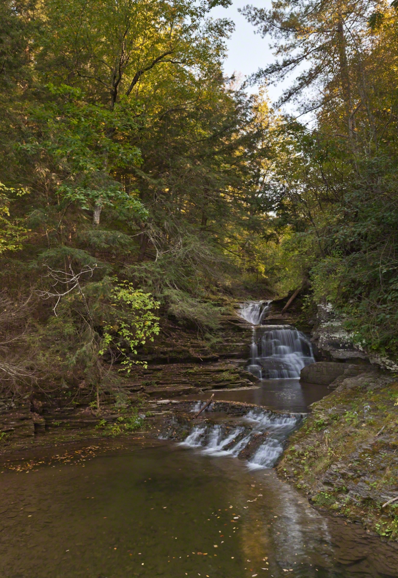 Mill Waterfall, evening, low flow