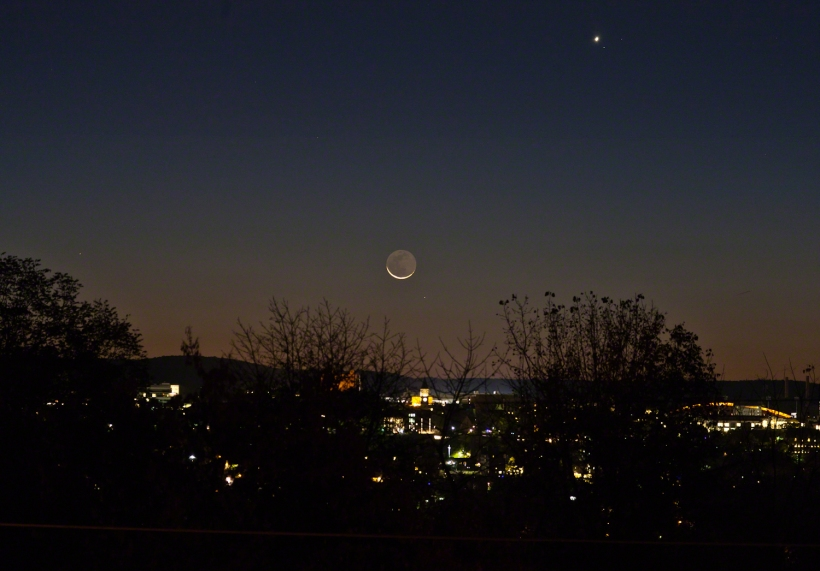 Crescent, McGraw Tower, Regulus, Venus