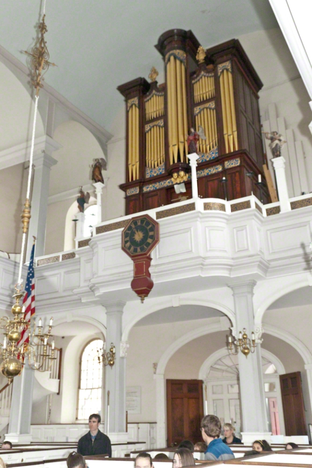 Organ above the entrance to Old North Church, Boston