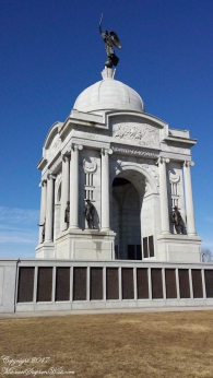 The Pennsylvania Memorial near the Highwater Mark of the 1863 Battle of Gettysburg. North side of the memorial with bronze tablets listing the 34,538 Pennsylvania soldiers who participated in the battle.