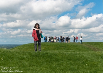 On a day in May a tourist walks the outer ring of the Inauguration Mound where the High Kings of Ireland were crowned.