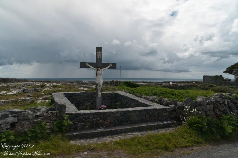 Roadside Shrine and Island Landscape, Inishmore, Aran Islands, County Galway, Ireland